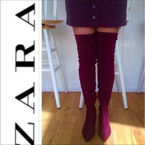 🆕 NWOT ZARA Thigh High Velvety Suede Boots Wine